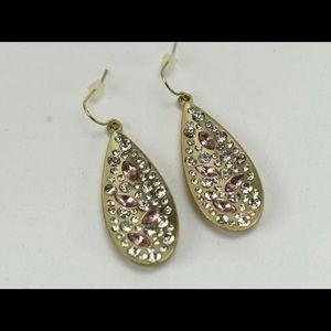 Stunning pair of pink crystal earrings brand new